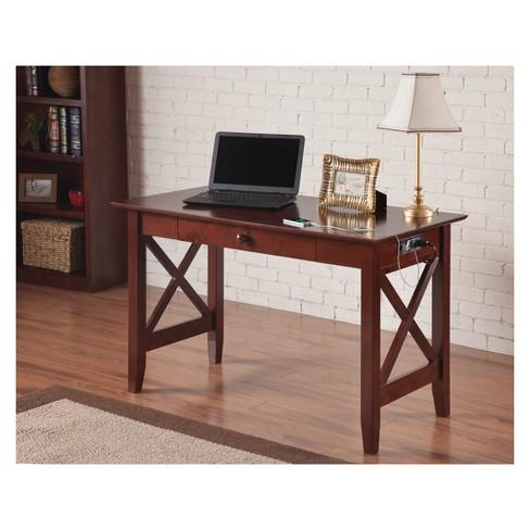 Writing Desk Modern Feel Usb Charger Walnut Atlantic Furniture
