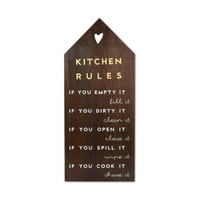 Kitchen Rules Plaque Deep Medium Wood Finish Metallic Gold/White - New View