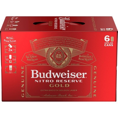 Budweiser Nitro Reserve Gold Beer - 6pk/12 fl oz Cans