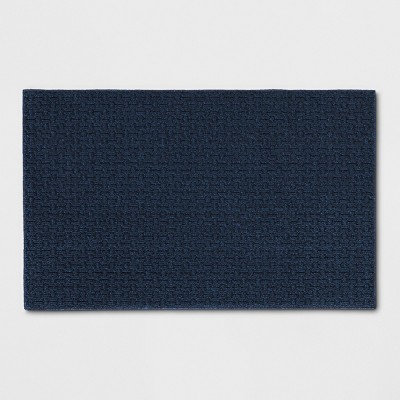 """2'6""""X3'10"""" Solid Washable Tufted Accent Rug Blue - Made By Design™"""