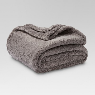 Fuzzy Throw Blanket Gray - Threshold™