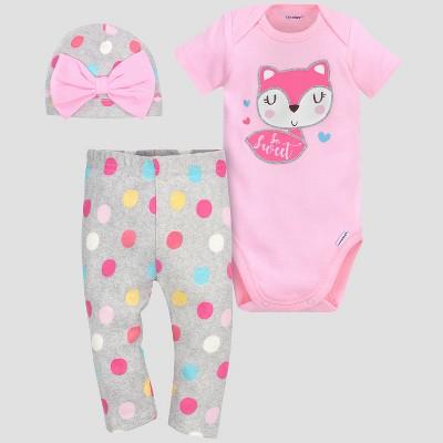 Gerber® Baby Girls' 3pc Fox Bodysuit, Cap and Pant Set - Pink 0-3M