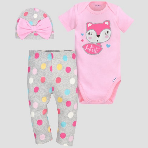 823733b5db8a3 Gerber® Baby Girls' 3pc Fox Bodysuit, Cap and Pant Set - Pink