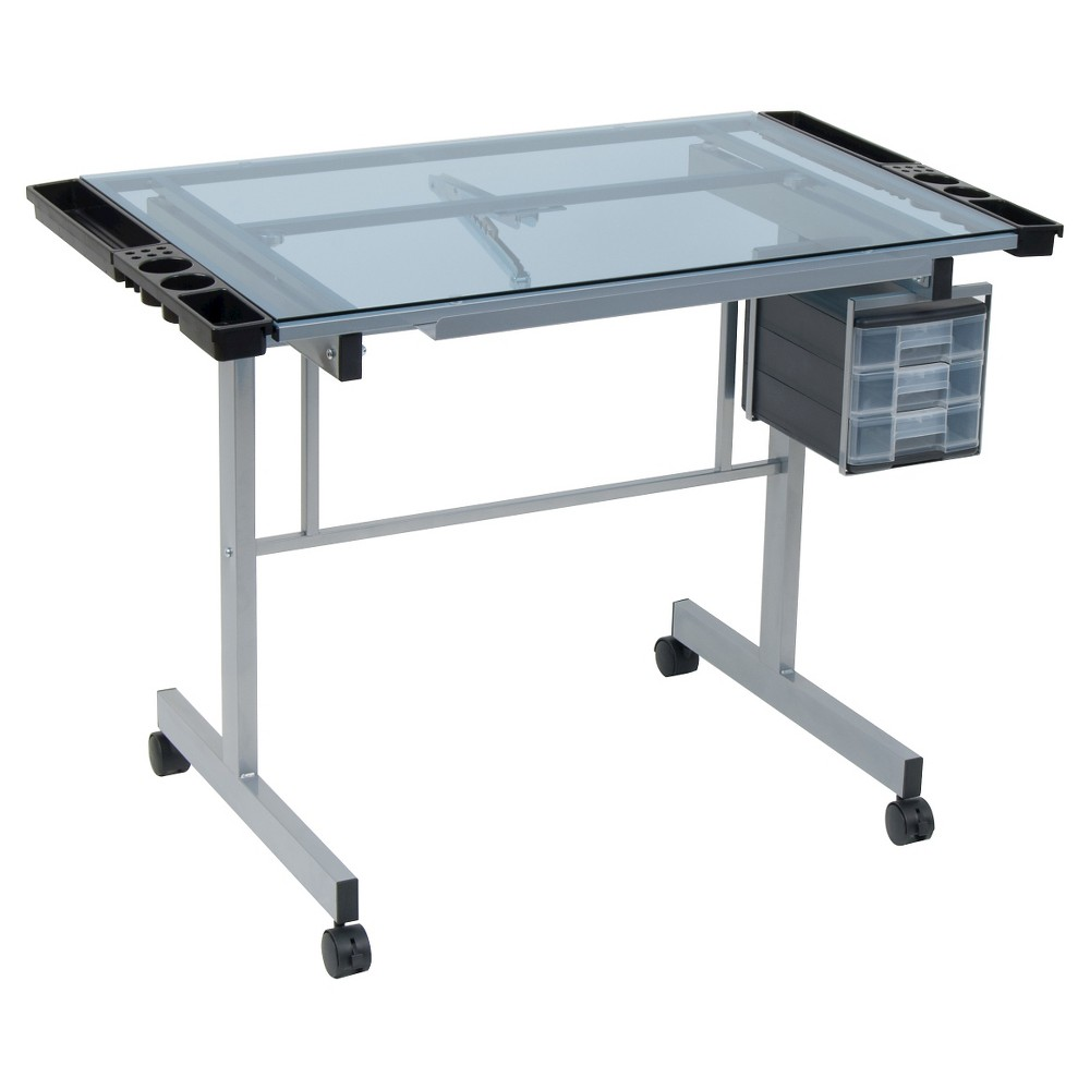 Vision Craft Station - Silver/Blue Glass