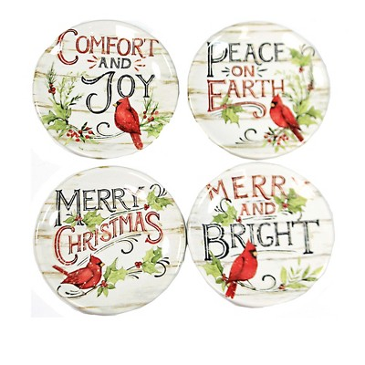 """Tabletop 6.5"""" Evergreen Canape Plates Set/4 Christmas Cardinals Certified International  -  Dining Plates"""
