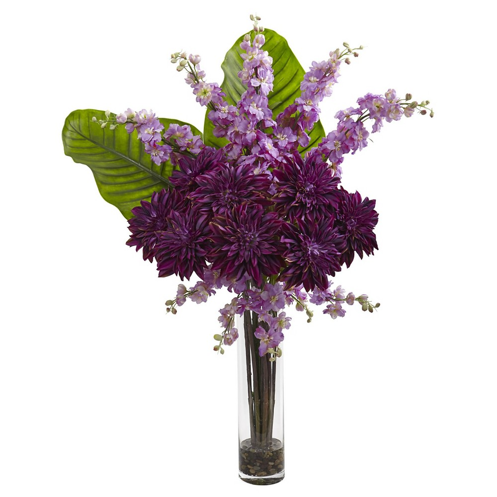 Dahlia, Delphinium, and Travelers Palm Silk Arrangement in Glass Cylinder Vase - Nearly Natural, Purple