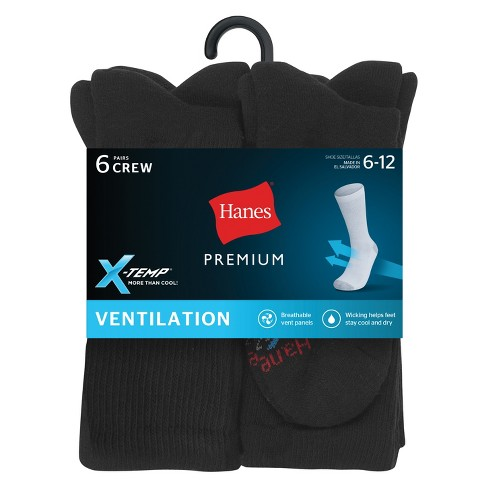 9f84b27e89361 Men's Hanes Premium Xtemp Cool 6Pk Black Crew Socks : Target