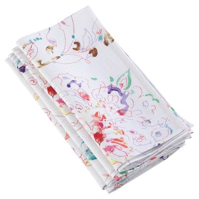 """4pk White Primavera Printed Floral Design Napkin 20"""" - Saro Lifestyle"""
