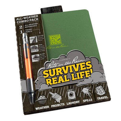 Green Stapled Notebook and Orange Mechanical Pencil Set - Rite in the Rain