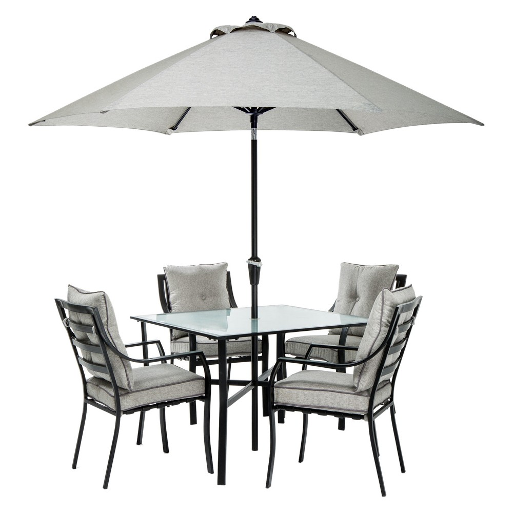 Lavallette 6pc Square Meat Patio Dining Set with Umbrella & Stand - Gray - Hanover