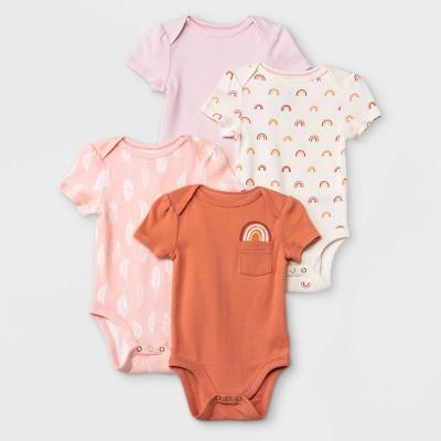 Baby Girls' 4pk Earth & Sky Short Sleeve Bodysuit - Cloud Island™ Pink 3-6M