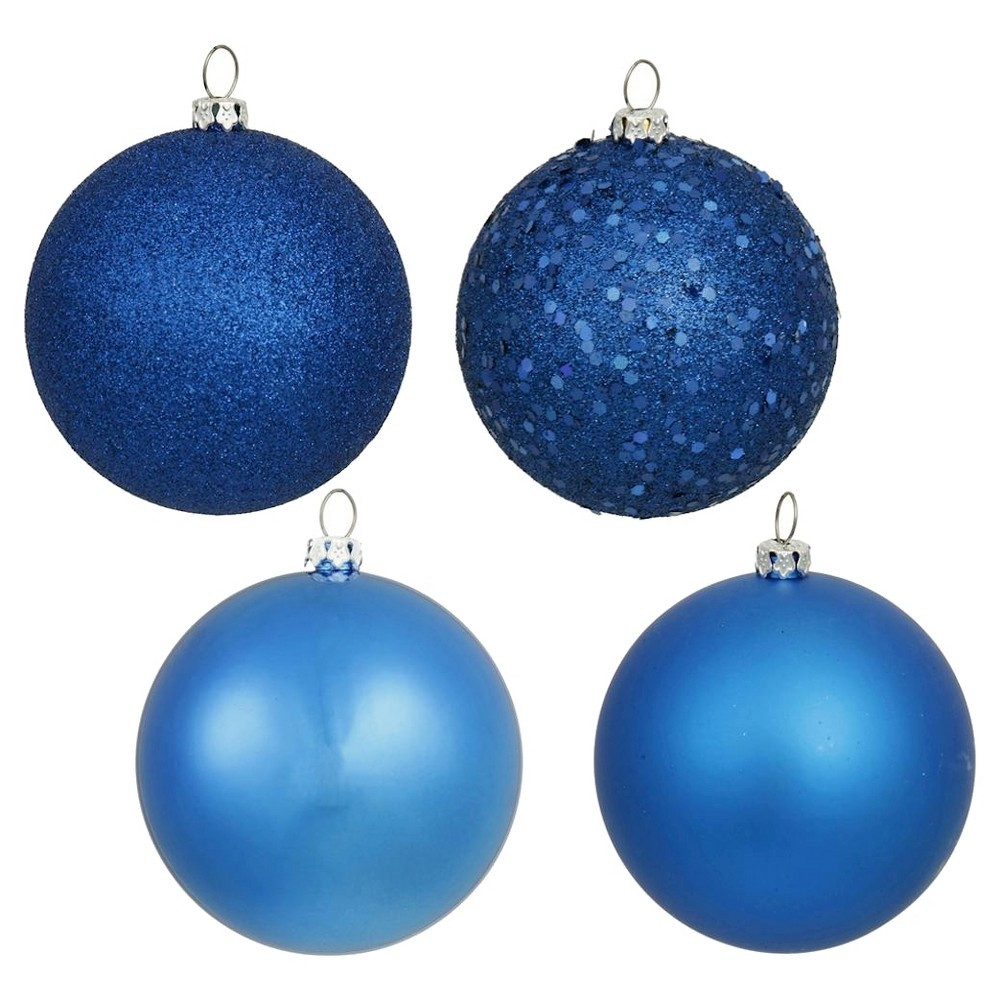 32ct Blue Assorted Finishes Ball Shatterproof Christmas Ornament Set, Multi-Colored