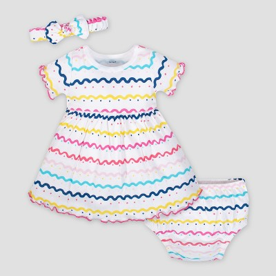 Gerber Baby Girls' 3pc Dress Set with Diaper Cover and Headband - White 6-9M