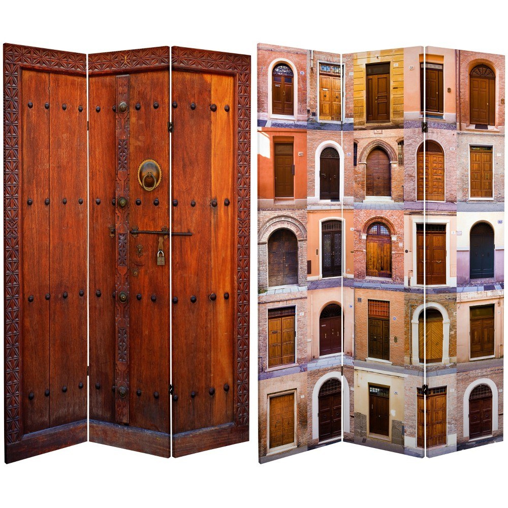 6ft Double Sided 3 Panel Doors Canvas Room Divider Oriental Furniture