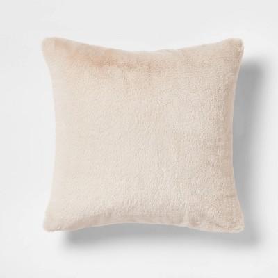 Faux Rabbit Fur Square Throw Pillow Neutral - Threshold™
