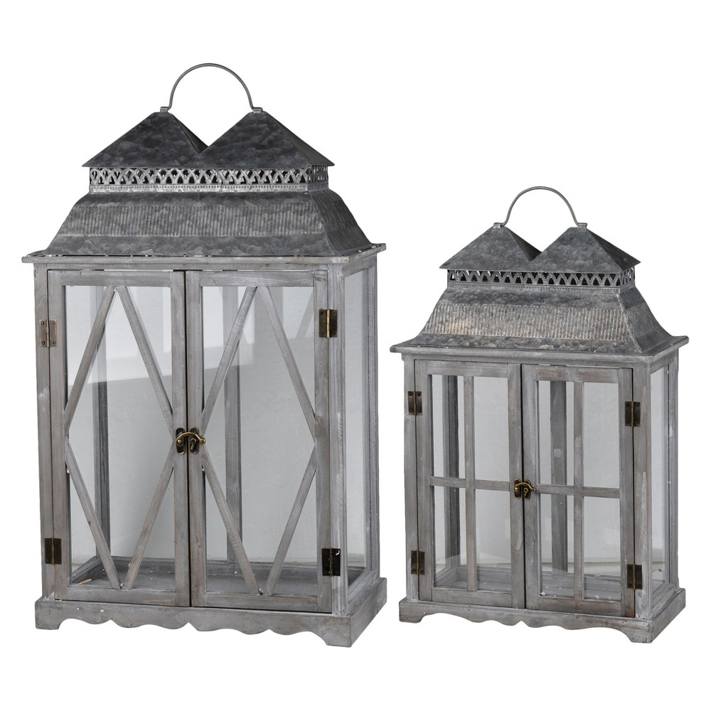 Image of Silver Scape Lantern Set Washed Wood 2pk - A&b Home