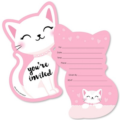 Big Dot of Happiness Purr-fect Kitty Cat - Shaped Fill-in Invitations - Meow Baby Shower or Birthday Party Invitation Cards with Envelopes - Set of 12