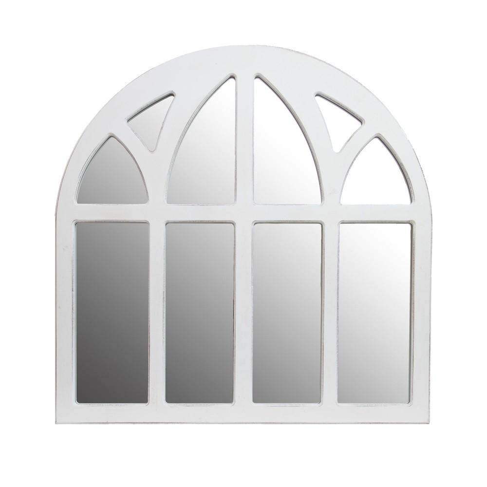 28 Distressed Farmhouse Cathedral Windowpane Wall Mirror White - Patton Wall Decor