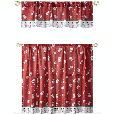 Kate Aurora Holiday Living Christmas Snowman Toss Complete 3 Pc Kitchen Curtain Tier & Valance Set - 58 in. W x 36 in. L