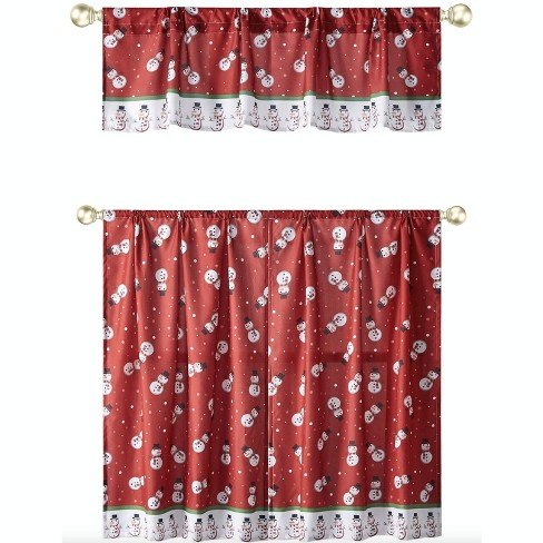 Kate Aurora Holiday Living Christmas Snowman Toss Complete 3 Pc Kitchen Curtain Tier & Valance Set - 58 in. W x 36 in. L - image 1 of 2