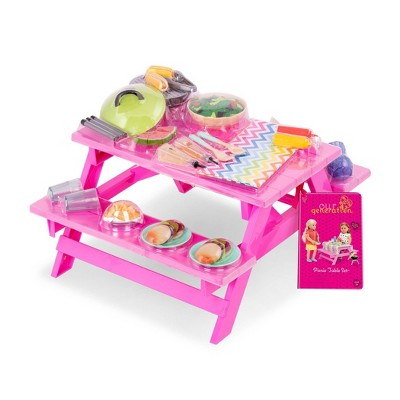 "Our Generation Picnic Table Set with Play Food Accessories for 18"" Dolls - Pink"