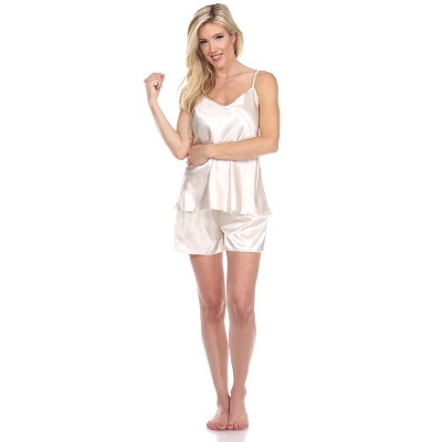 Women's Satin Cami And Shorts Pajama Set - White Mark