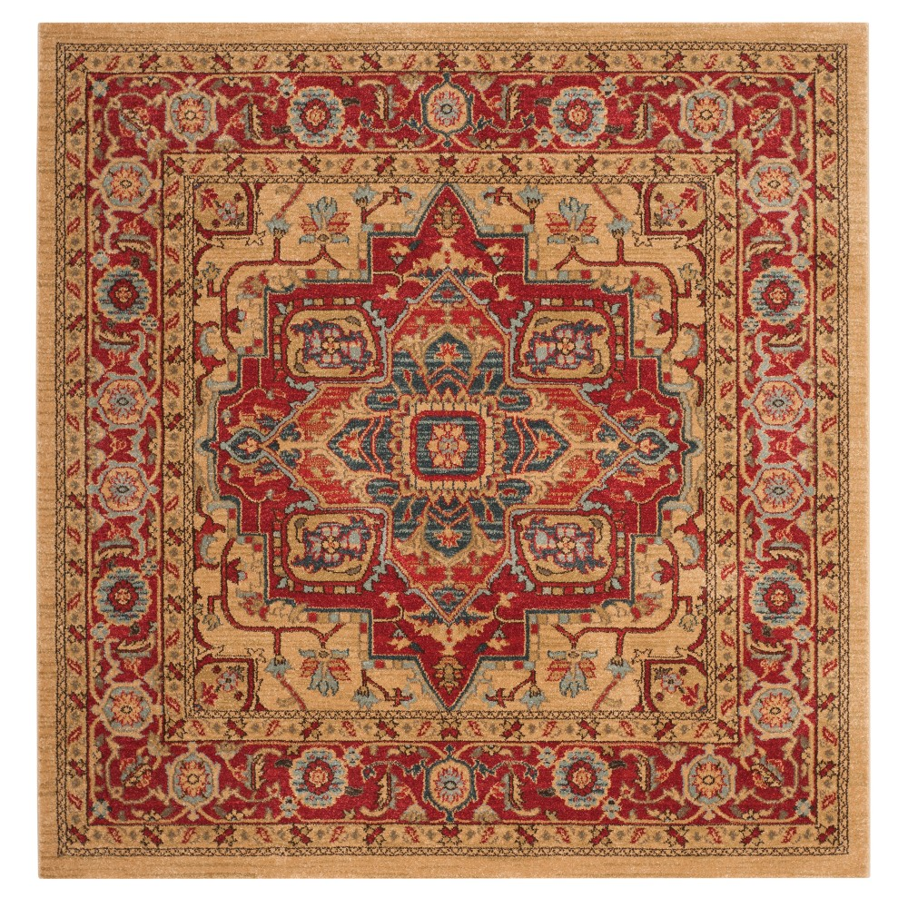 Red Natural Floral Loomed Square Area Rug 5 X5 Safavieh