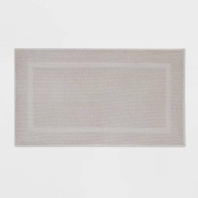 "20""x34"" Performance Texture Cotton Memory Foam Bath Rug Light Gray - Threshold™"