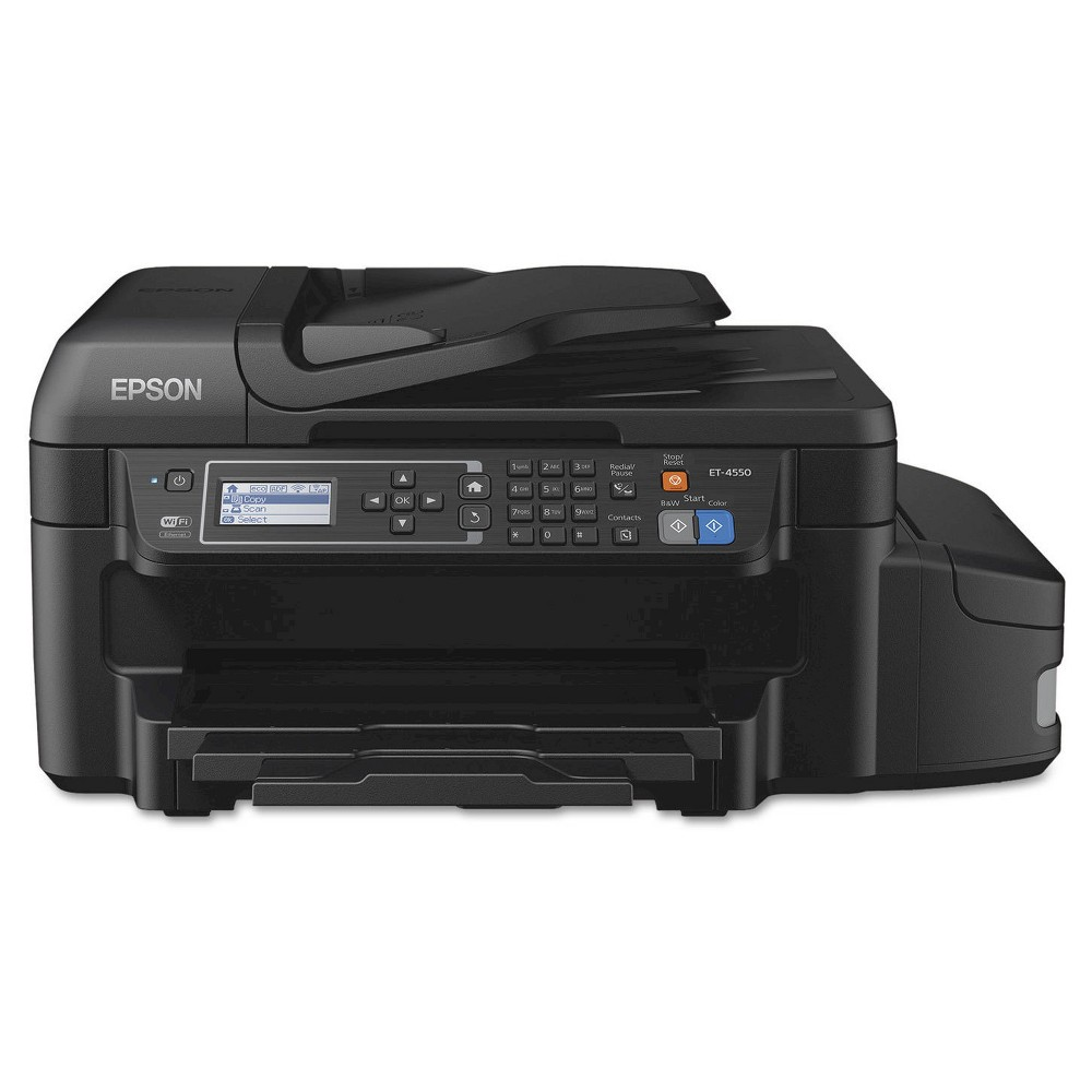 Epson WorkForce ET-4550 EcoTank Wireless All-in-One Printer The Epson WorkForce ET-4550, EcoTank Wi-Fi All-in-One Inkjet Printer (EPSC11CE71201) provides the ultimate combination of low cost printing, fast print speeds and versatile paper handling. Compact, convenient and affordable, this all-in-one copier, fax machine, Wi-Fi printer and scanner is ideal for small businesses or your home office.