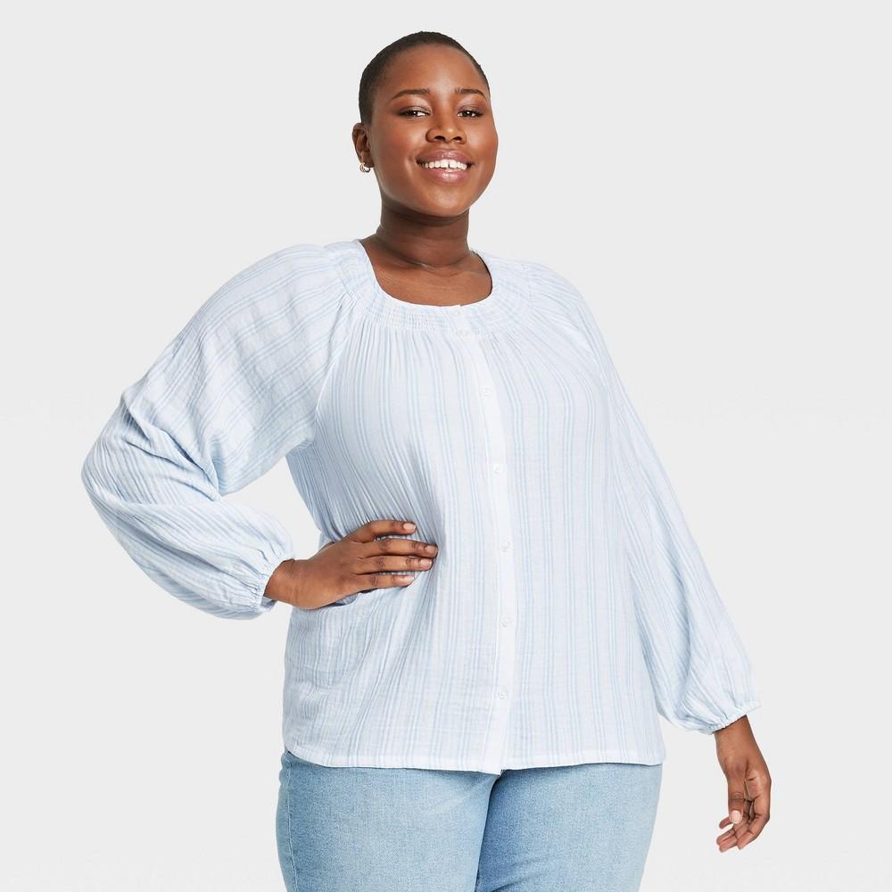 Women 39 S Plus Size Striped Long Sleeve Gauze Blouse Ava 38 Viv 8482 Blue Cream X