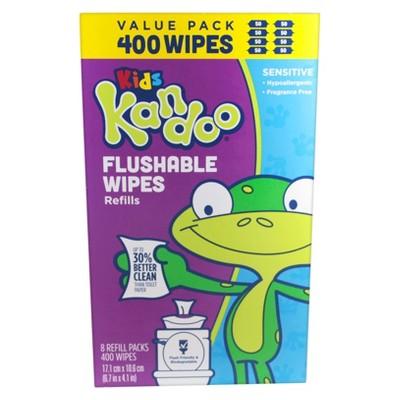 Kandoo Sensitive Flushable Wipes Value Pack, 400ct
