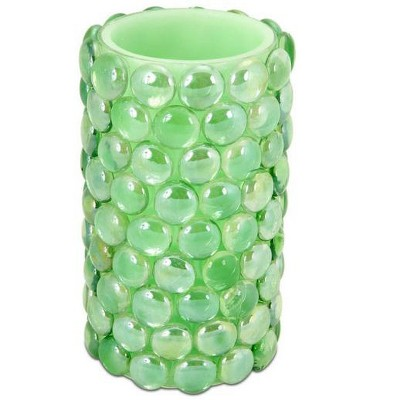 """Melrose 6"""" Green Beaded LED Lighted Battery Operated Flameless Pillar Candle - Amber Flicker Flame"""