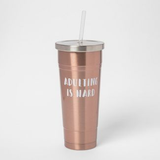 25oz Stainless Steel Straw Tumbler Pink - Adulting is Hard