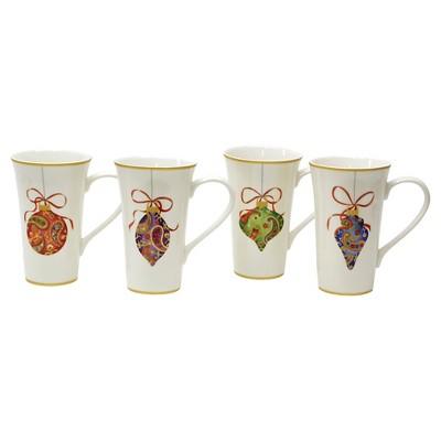 222 Fifth Paisley Ornaments Latte Mug Set of 4