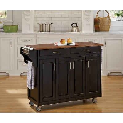 Kitchen Carts And Islands Wood Top Black/Brown - Home Styles