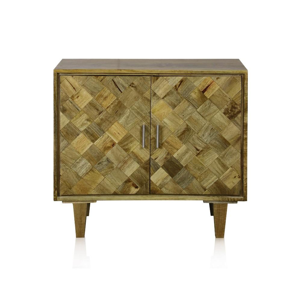 2 Door Cabinet of Solid Mango Wood with Nickle Hardware Walnut (Brown) - Stylecraft