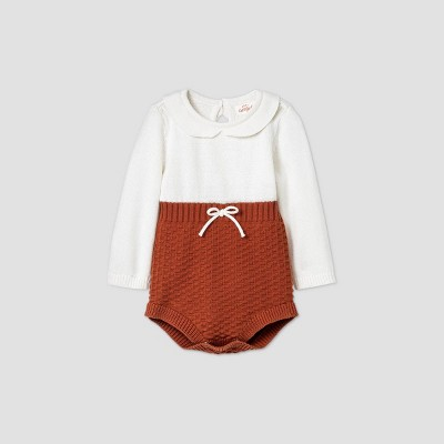 Baby Girls' Sweater Bubble Romper - Cat & Jack™ Cream 6-9M