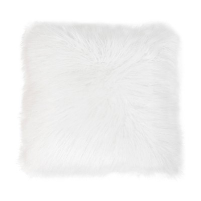 "20""x20"" Keller Faux Mongolian Pillow Bright White - Décor Therapy"