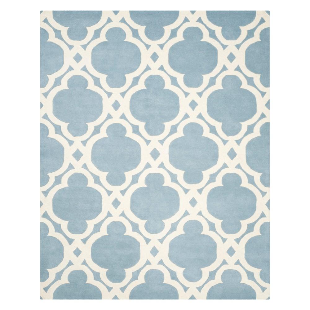8'X10' Quatrefoil Design Tufted Area Rug Blue/Ivory - Safavieh