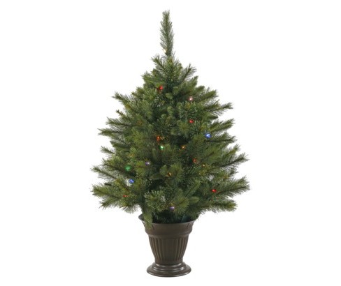 3.5ft Pre-Lit Artificial Christmas Tree Slim Cashmere Pine - Multicolored LED Lights - image 1 of 2