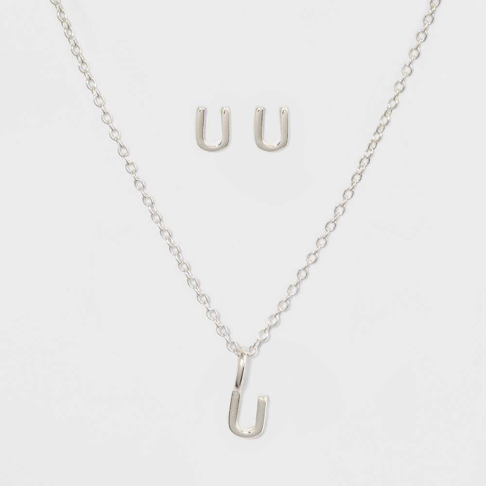 Sterling Silver Initial U Earrings and Necklace Set - A New Day Silver, Girl's, Silver - U