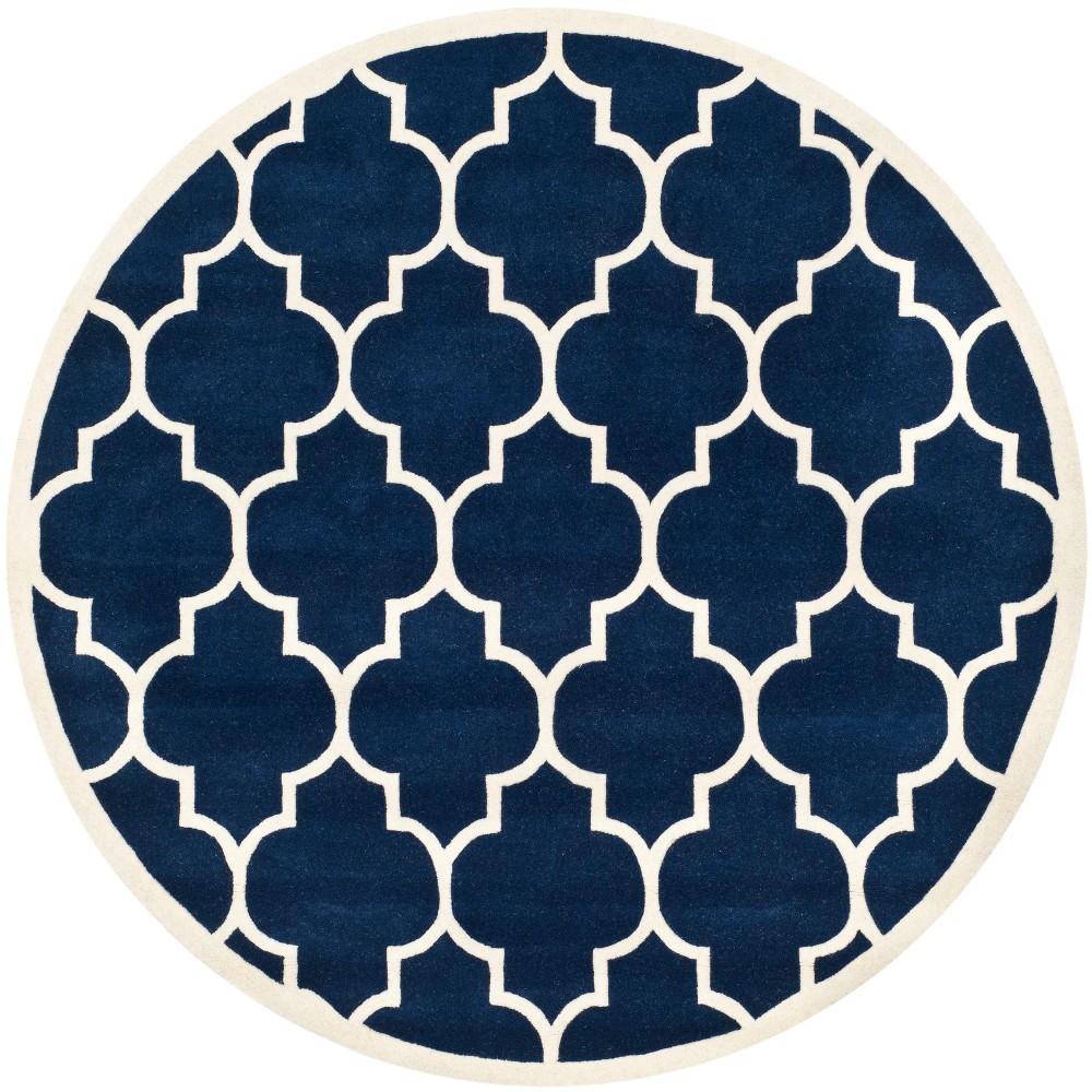 7' Quatrefoil Design Tufted Round Area Rug Dark Blue/Ivory - Safavieh