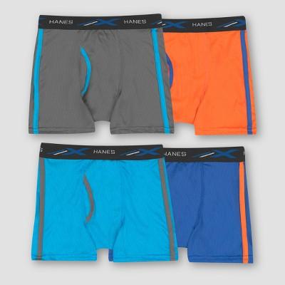 Hanes Boys' 4pk Xtemp Poly Mesh Boxer Briefs - Colors Vary