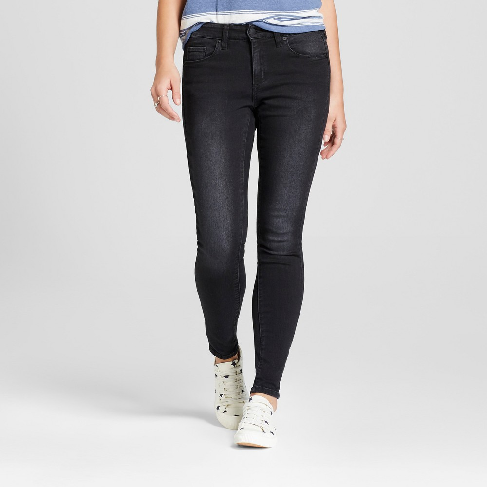 Women's Mid-Rise Skinny Jeans - Universal Thread Black 0 Long