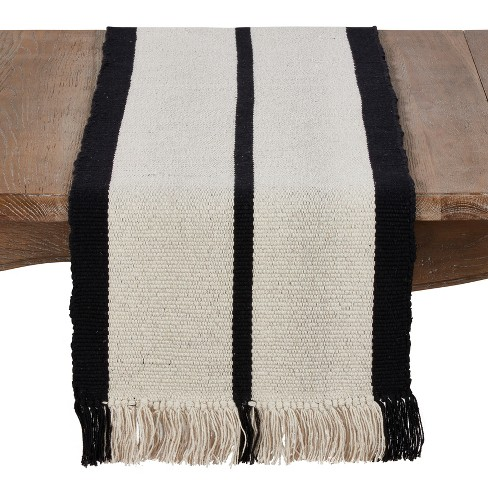 """72""""x16"""" Cotton Table Runner With Heavy Rug And Tassel Design Cream/Black - Saro Lifestyle - image 1 of 3"""