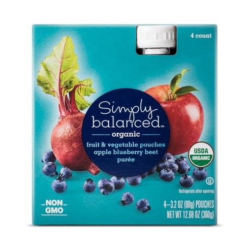 Apple Blueberry Beat Puree Pouch 4ct - Simply Balanced™ - image 1 of 1