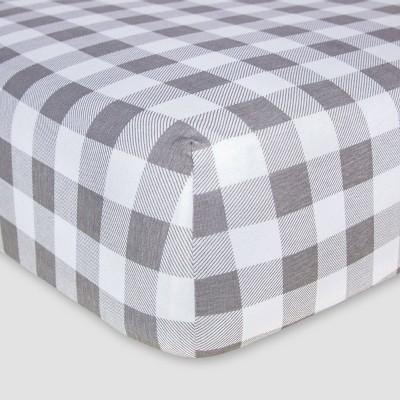 Burt's Bees Baby® Organic Fitted Crib Sheet - Buffalo Check - Fog Gray