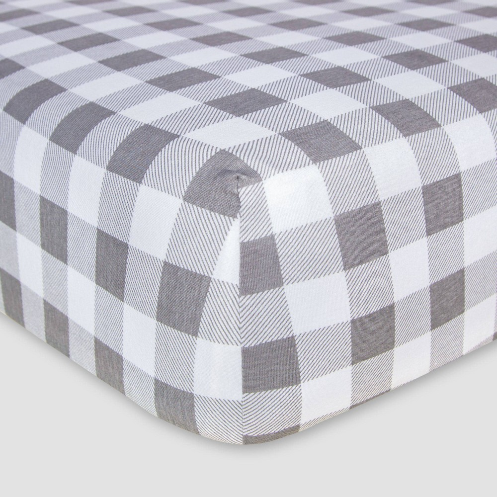 Image of Burt's Bees Baby Organic Fitted Crib Sheet - Buffalo Check - Fog Gray