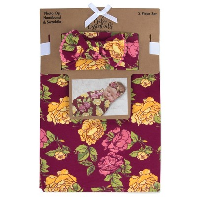 Baby Essentials Floral Swaddle and Headband - Burgundy