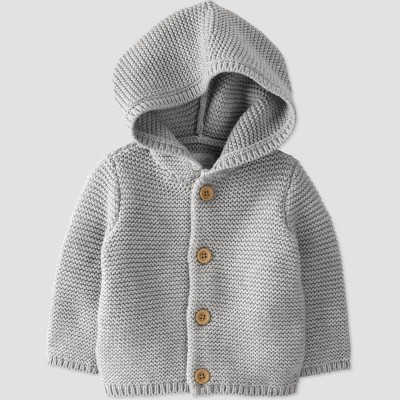 Baby Hooded Sweater Cardigan - little planet by carter's Gray